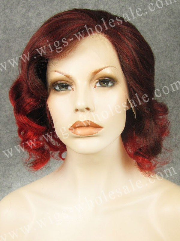 ФОТО synthetic  lace front wigs with bangs short bobo wavy red two tones cosplay wigs