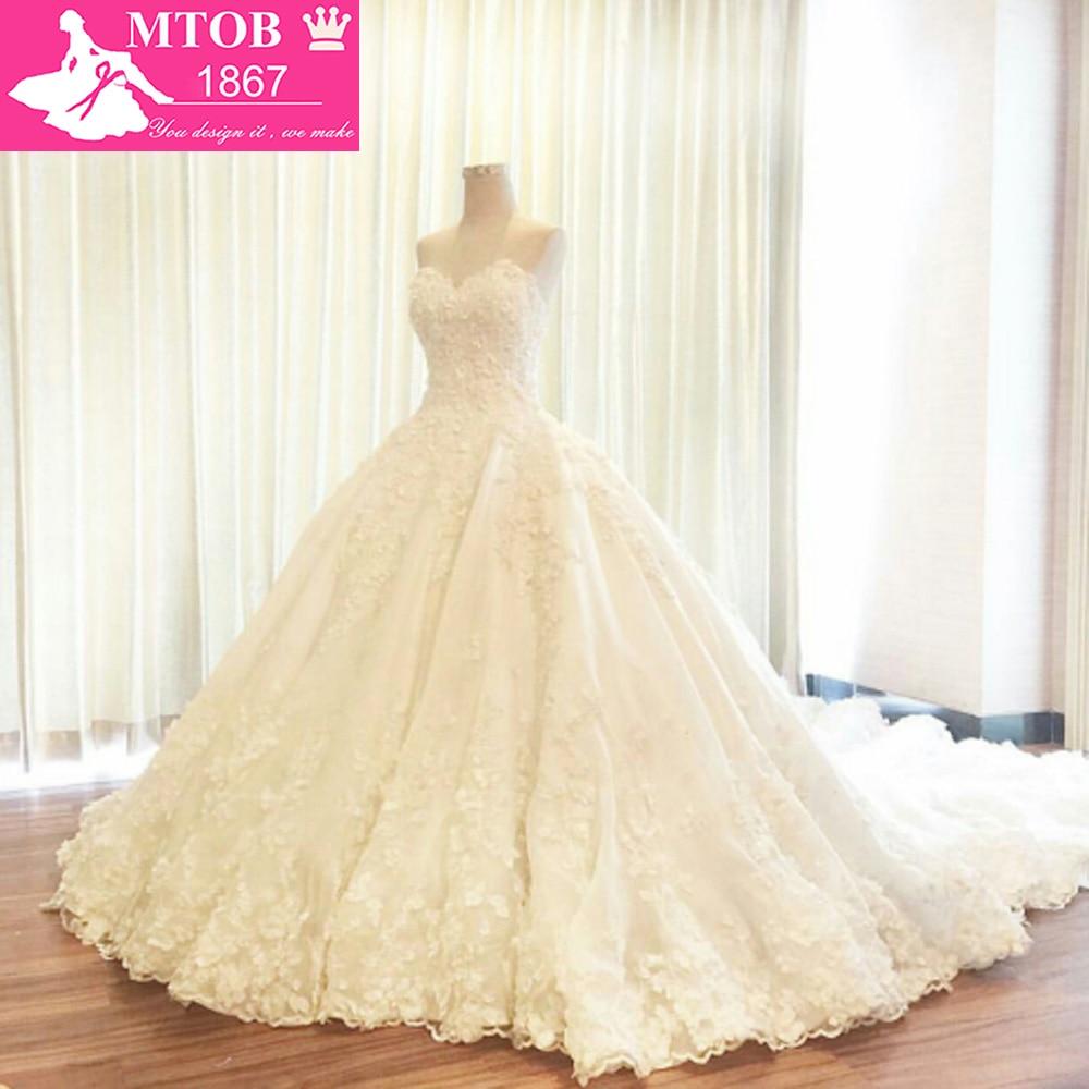 Abito da sposa 2018 Alibaba Cina Senza Spalline Ball Gown Lace Abiti da sposa Lungo Treno Applicazioni di Perline vestido de noiva principe W1126