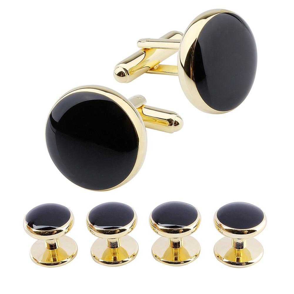 brand black enamel cufflinks studs set for tuxedo shirt on