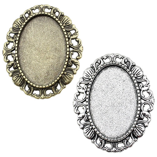 Fit 18x25mm Antique Silver Bronze Cameo/Glass/Cabochon Frame Bezel Settings,Brooch,DIY Accessory Base Charm 5pcs/lot K04641