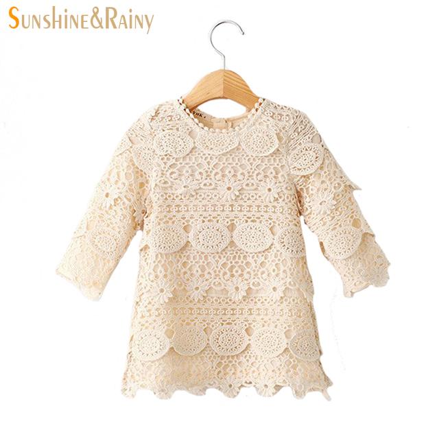 Spring Vintage Lace Long Sleeve Baby Girl Princess Dress Vestidos Infantis Suit 2~7 Age Children Girls Dresses