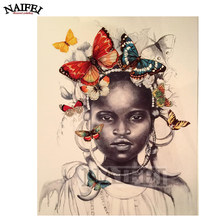 5D Diamond embroidery Needlework Full Resin Square Diamond Painting african girl with butterflies,diamond Mosaic Cross Stitch(China)