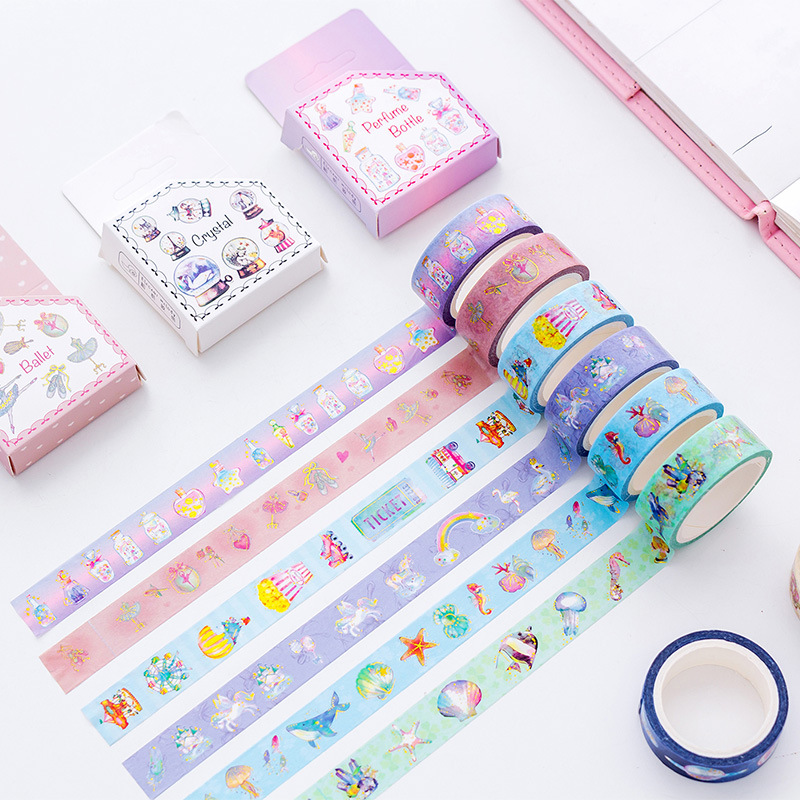 Cartoon Animal Unicorn Ocean Diamond Gilding Decorative Washi Tape Adhesive Tape DIY Scrapbooking Sticker Label Masking Tape