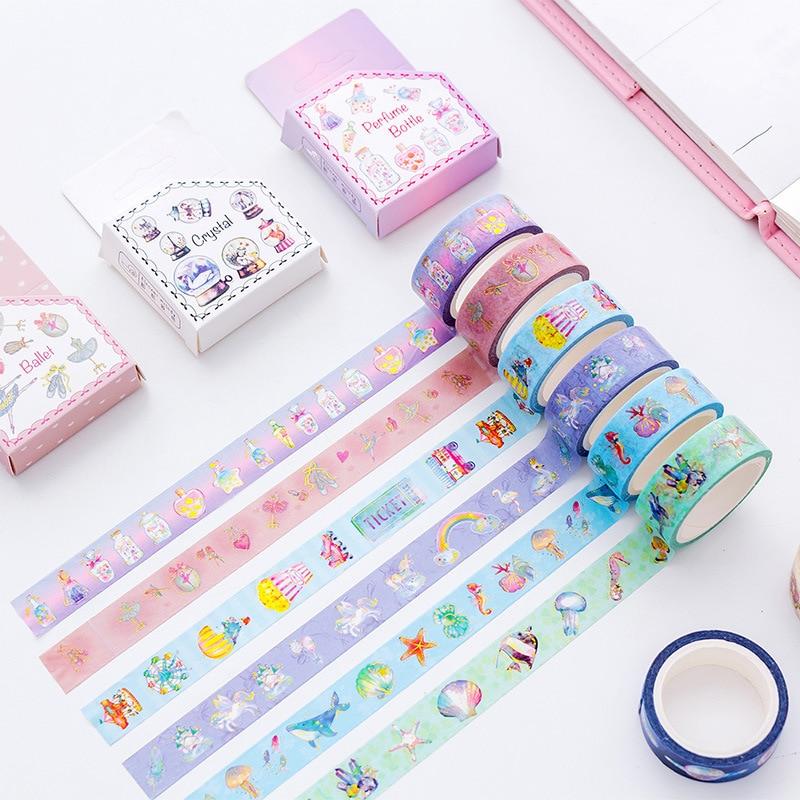 Cartoon Animal Unicorn Ocean Diamond Gilding Decorative Washi Tape Adhesive Tape DIY Scrapbooking Sticker Label Masking Tape