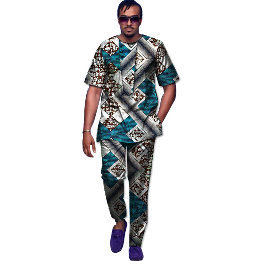 Aangepaste dashiki kleding mannen print shirt + broek sets korte mouw - Traditionele kleding
