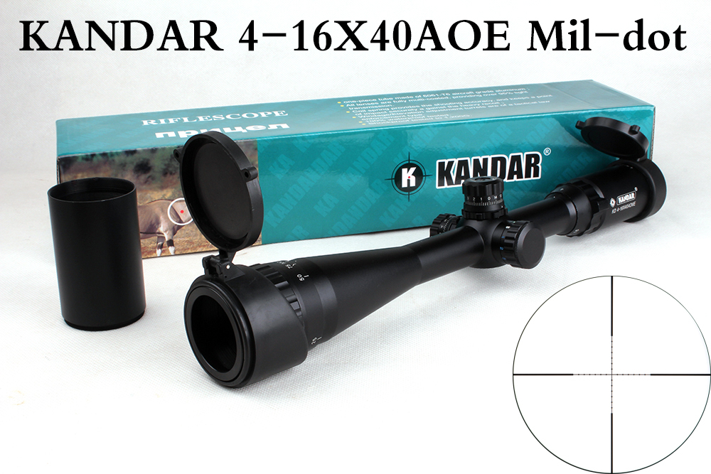 ФОТО Tactical Optical Sight KANDAR 4-16x40 AOE Mil-dot Reticle RifleScope Locking/Resetting Hunting Rifle Scope