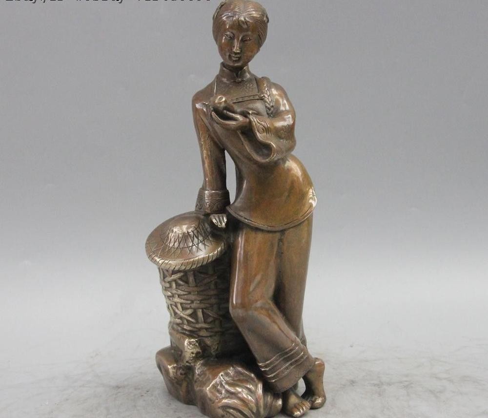 Dynastie chinoise cuivre Bronze pêcheur Creel jeune fille Belle Statue de poisson