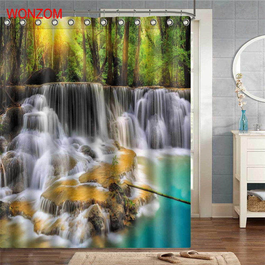 WONZOM Waterfall Shower Curtains For Bathroom Decor Modern Landscape Bath Waterproof Curtain with 12 Hooks Bathroom Accessories in Shower Curtains from Home Garden