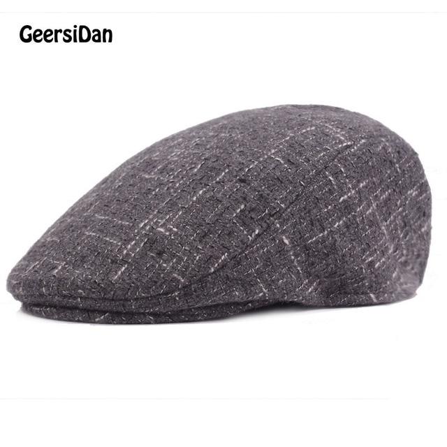 Geersidan invierno moda Caballero tapa octogonal grueso caliente hombres  Beret sombreros gorras para hombres marca algodón 300ac20c291
