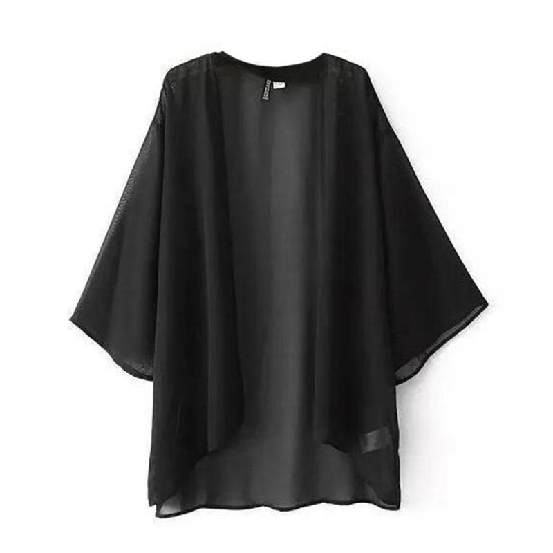 Chiffon Kimono Cardigan Casual 3/4 Batwing Sleeve Loose Black Women   Blouses     Shirts   Plus Size Summer Women Tops Outerwear