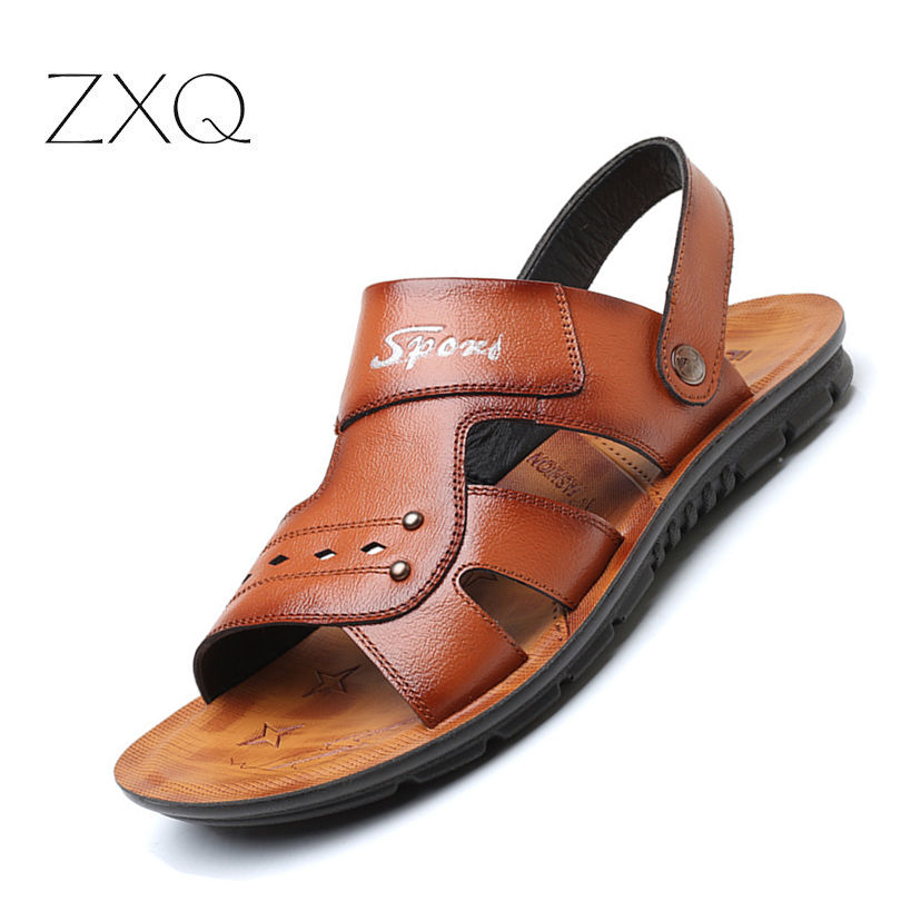 mens sandals 2018 summer outdoor beach sandals leather shoes fashion breathable casual male footwear for men