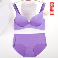 No steel ring bra thin thick section gather adjustment type air small seamless bra female sexy lingerie set