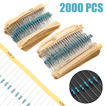 2000pcs 100 1/4W Metal Film Resistor Values 1 ohm~1M ohm Metal Film Resistors Resistance Assortment Kit цены