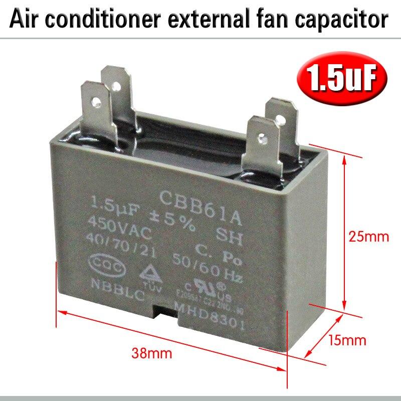 CBB61 кондиционер наружный вентилятор стартовый конденсатор с алюминиевой крышкой, 1,5/2/2,5/3/3,5/4/5/6/8 мкФ 450 вольтным и конденсатор с алюминиевой крышкой 4 вставки электромагнитный пускатель - Цвет: 1.5uF