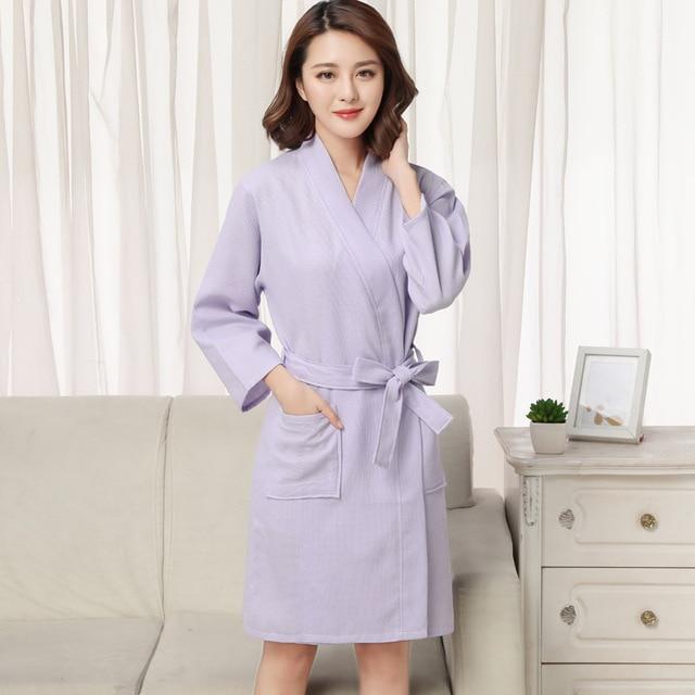 3e72c5f214 Women Kimono Robe Men Bathrobe Summer Sold Sexy Spa Robe Waffle Cotton Bath Robes  Bride Robe Pink Plus Size for couples 2018 New