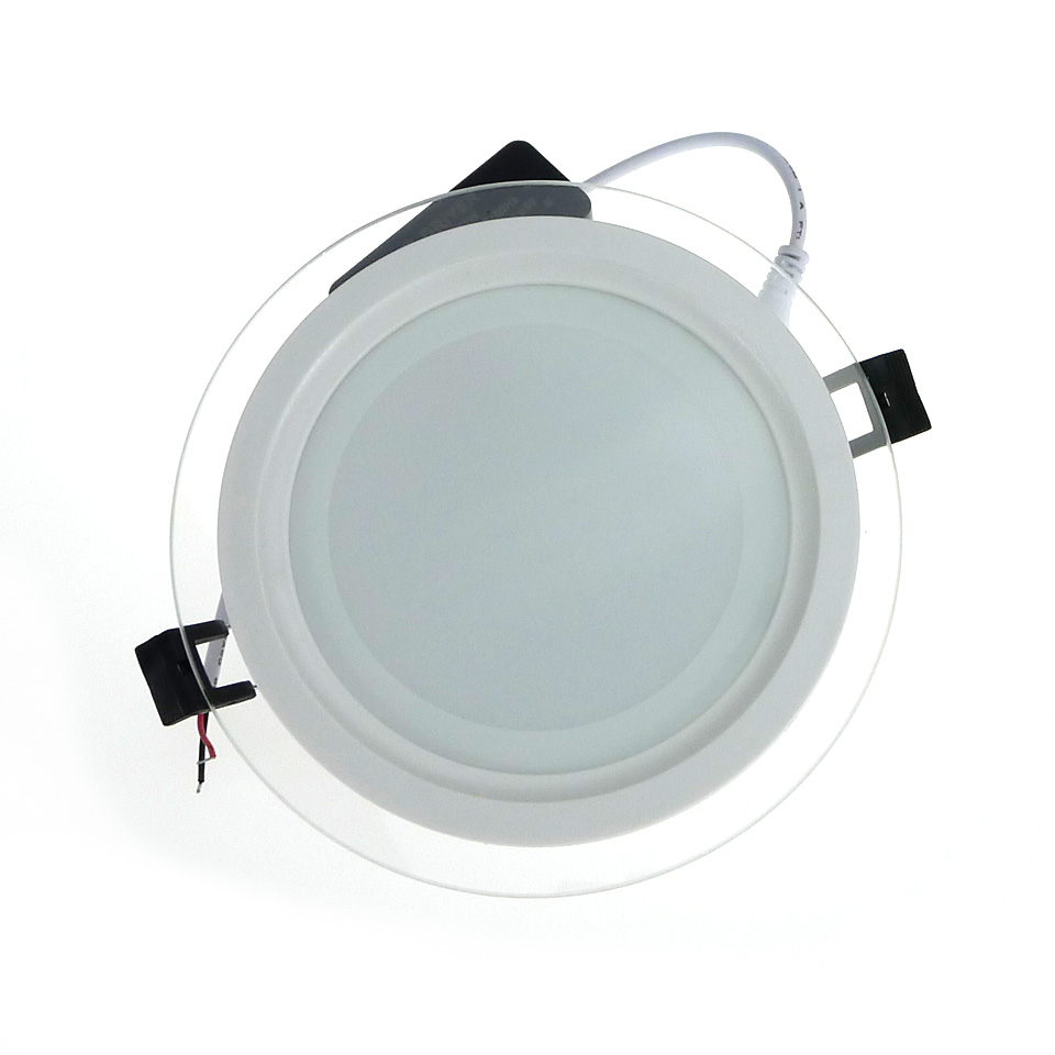 Dimmable LED Panel Light Round Glass Panel Downlight 6W 12W 18W ...