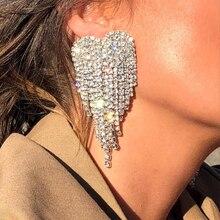 Lalynnly New Elegant Ladies Big Heart Rhinestone Drop Dangle Earrings For Women Design Large Crystal Earrings Jewelry Gift