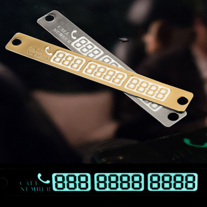 Car Styling Telephone Number Card Sticker 15x2cm Night Luminous Temporary Car Parking Card Plate Suckers Phone Number Card(China)