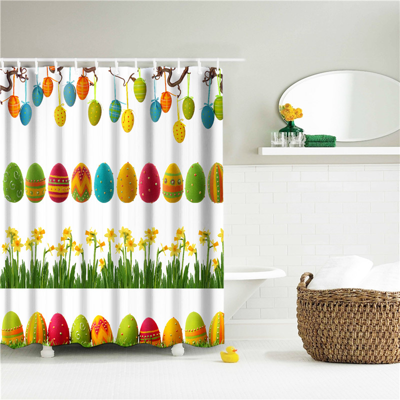Happy Easter Shower Curtains for living room Polyester Waterproof ...