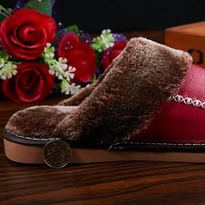 Image 5 - Mntrerm zimowe męskie kapcie prawdziwej skóry domu kryty antypoślizgowe buty termiczne mężczyźni 2020 nowe ciepłe zimowe kapcie Plus rozmiar