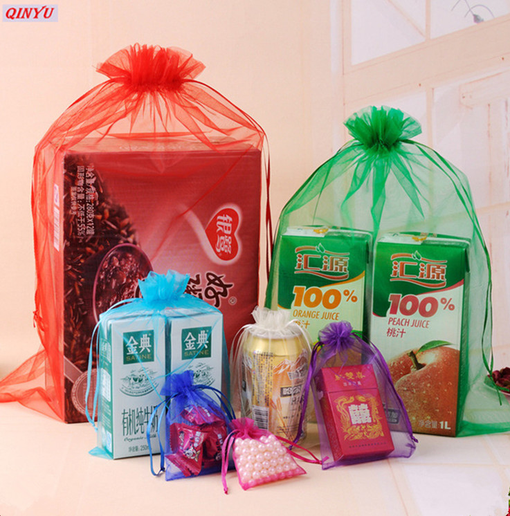 Top 100 Wedding Gifts: 100Pcs 7X9cm Organza Tulle Fabric Bag Jewelry Bag Wedding