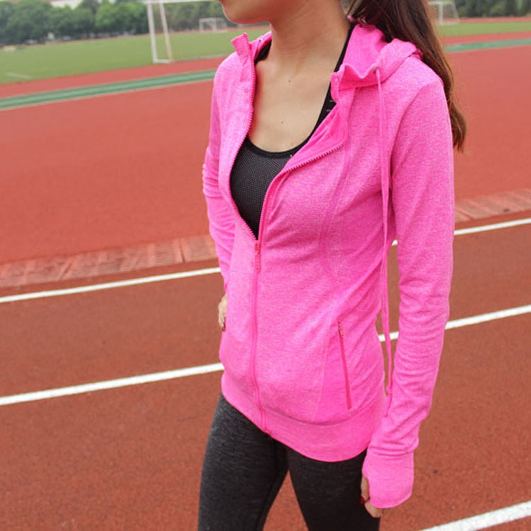 Sports fitness jacket zipper hooded quick-drying womens autumn training hood breathable sweat long-sleeved shirt running
