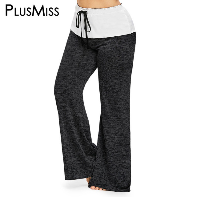 9f2fd1ad8c7 PlusMiss Plus Size High Waist Wide Leg Pants Women Big Size Loose  Drawstring Baggy Joggers Loose Pant Ladies Trousers Female