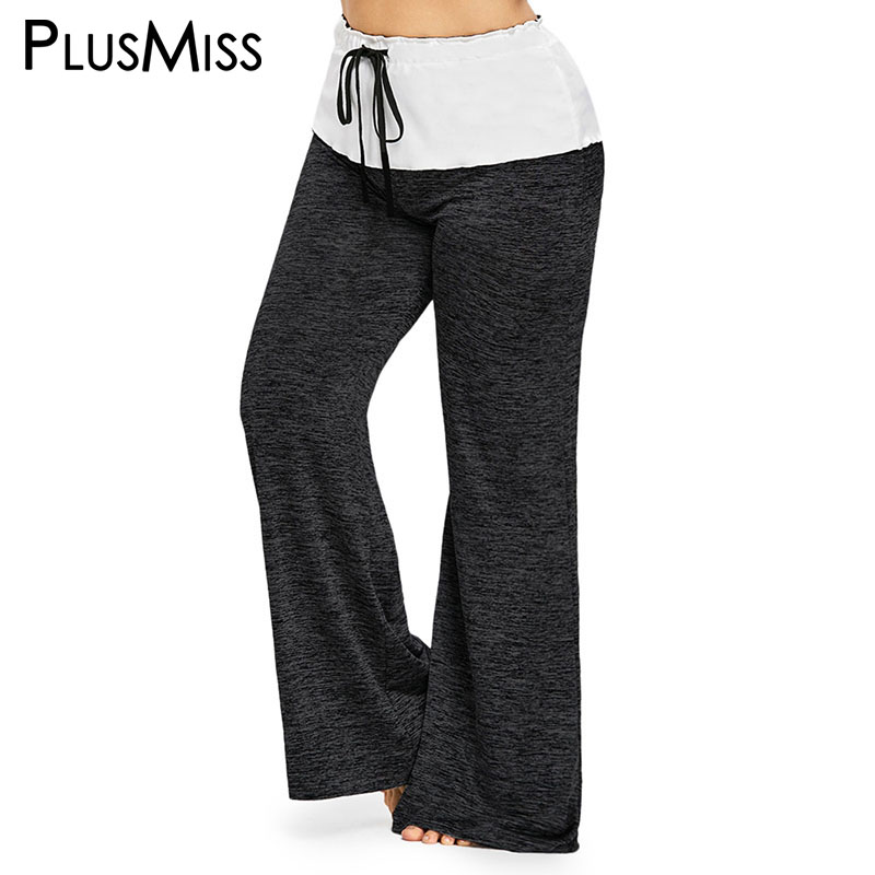 PlusMiss Plus Size High Waist   Wide     Leg     Pants   Women Big Size Loose Drawstring Baggy Joggers Loose   Pant   Ladies Trousers Female