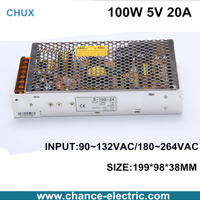 dc china Switching Power Supply single output 5V 20A 100W   for cnc  led light(s-100w-5v) Free Shipping single output switching led power supply 12v 8 5a 100w ac100 240v to dc12v led driver adapter for led strips light cnc cctv