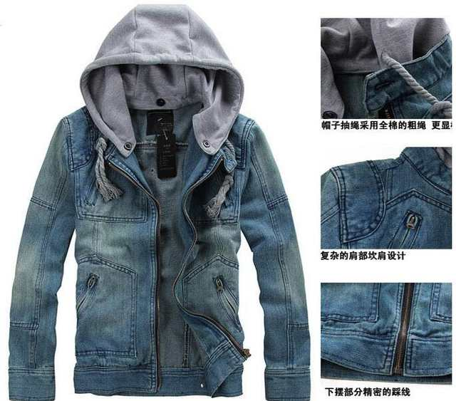 487a5030f8a placeholder Denim Jacket men hooded sportswear Outdoors Casual fashion  Jeans Jackets Hoodies Cowboy Mens Jacket and Coat