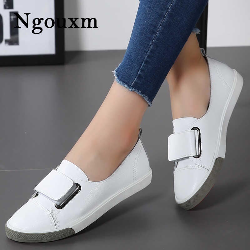 Ngouxm 2019 Fashion Women Loafers Flats Woman Lady female Slip On White Genuine Leather Moccasins Casual Shoes zapatos de mujer