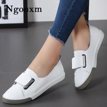 Ngouxm 2020 ربيع الخريف النساء المتسكعون شقة سيدة الانزلاق على الأبيض جلد طبيعي الأخفاف أحذية نسائية عادية Zapatos De Mujer