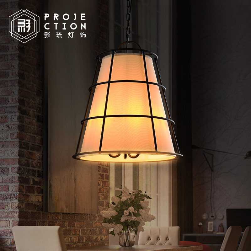 Retro American country loft bar iron creative personality restaurant industry pendant lamp lampshade fabric t american country rrtro black pendant light with led e14 bulbs creative loft iron cage lamp for bar restaurant best price