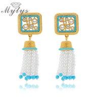 Mytysファッションエスニックビーズパールドロップブラブライヤリングタッセルデザイン真珠のイヤリング声明イヤリングCE152 CE153