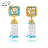 Fashion Ethnic Beaded Pearl Drop Dangle Earrings Tassel Design Pearl Earrings CE152 CE153