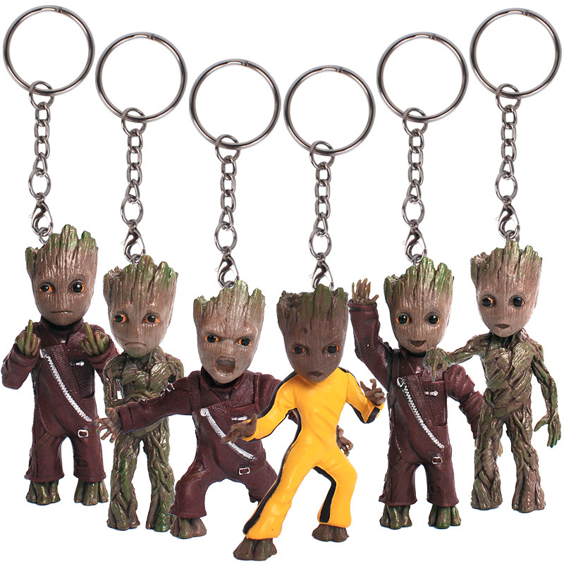 Funko Pop War Guardians of the Galaxy Groot Bobble Head Keychain PVC Figure Collection Super Natural Pocket Key Ring Toys Gift new funko pop guardians of the galaxy tree people groot