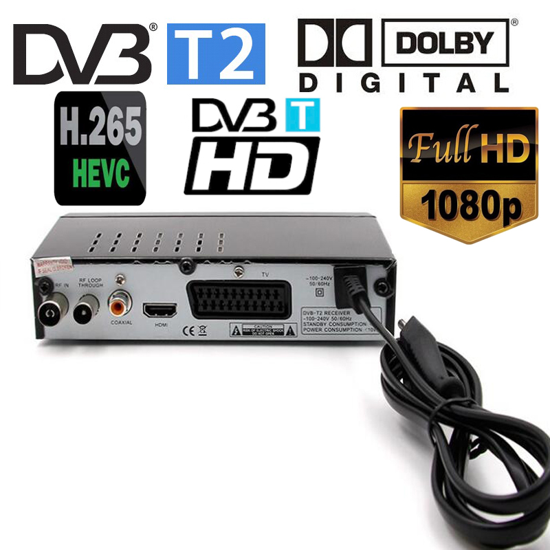 Details about Newest DVB-T2 digital receiver supports H 265/HEVC Dolby AC3  DVB-T/H264/mpeg4