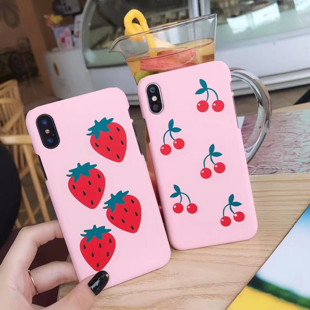 Fashion Summer fruit cherry strawberry Phone Case for iPhone X 8 7 Plus Pink Hard PC cover For iPhone 7 6s 6 Plus case coque