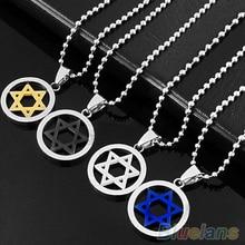 Stainless Steel Pendant Necklace Men Unisex Silver Jewish Star of David  00CU