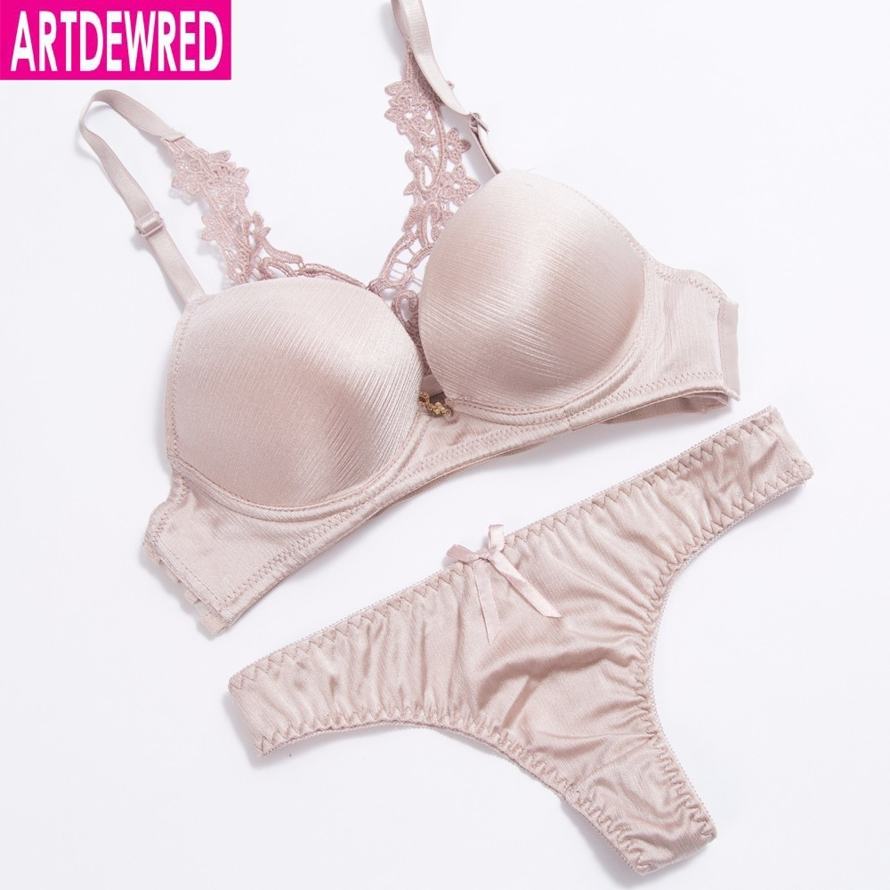 Artdewred  Deep V sexy ultra deep rim gather solid plus size seamless one-piece paragraph girl sexy lingerie bra set