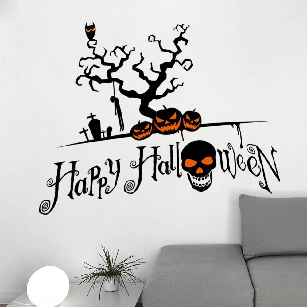 home decor diy happy halloween decoration skull wall sticker tree wall decoration children bedroom wall stickers