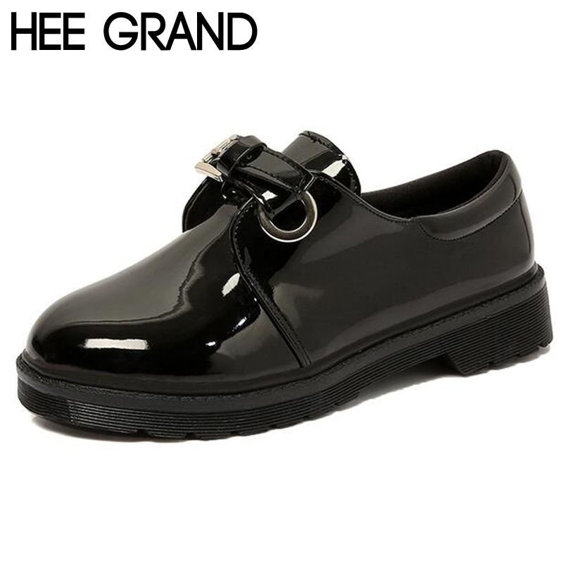 ФОТО HEE GRAND Women Oxfords Patient PU Leather Spring 2017 Women Thick Bottom Pumps Belt Buckle Shoes Woman XWD5676