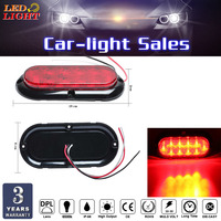 Keyecu Red 10 diode LED oval lights with 4 screw holes for mounting and 3 wires for ground, brake/turn, and tail light functions