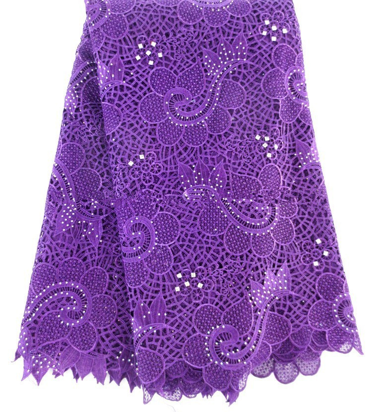 High quality African French net lace fabric Purple color for wedding dress 2015 Guipure cord lace