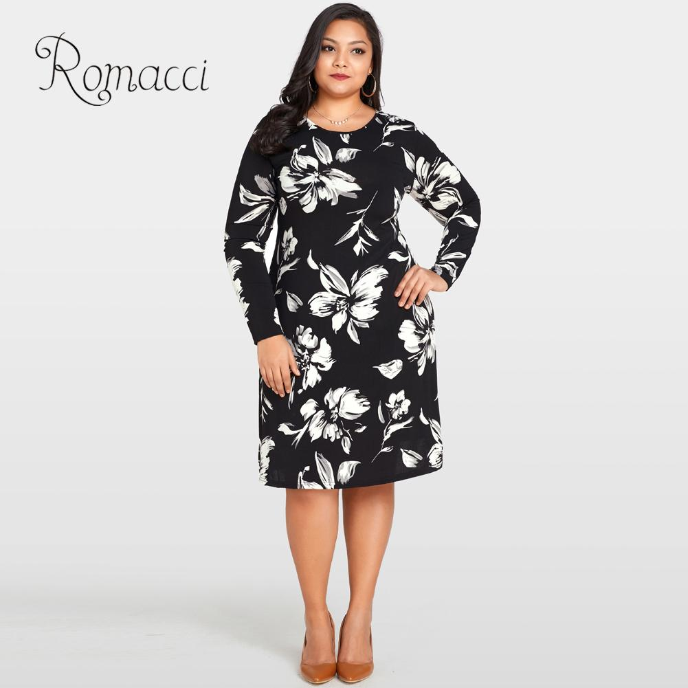 Romacci Women Floral Print Dress O Neck Long Sleeve Loose Flower Midi Dress  Casual 4XL 5XL Plus Size Autumn Dress Black Vestido-in Dresses from Women s  ... fd873f04541a