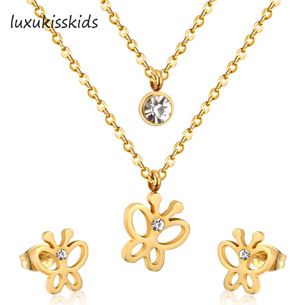 LUXUKISSKIDS Double Layer Necklace With Four Leaf Cloves Necklaces Earring Set