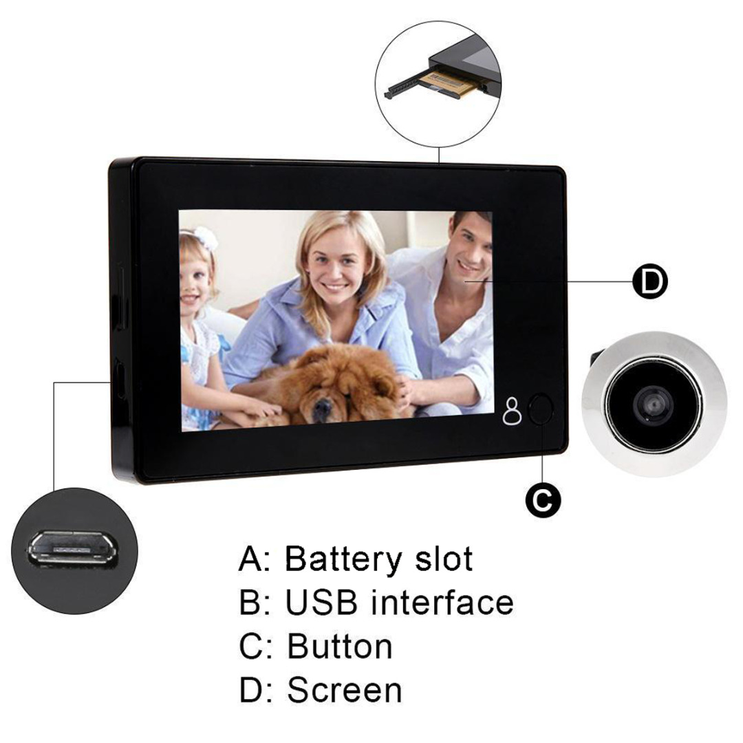 4,3 дюймов дверной глазок 145 градусов ЖК-видео цифровой глазок дверной Глаз Камера Безопасности мониторинг двери глазок