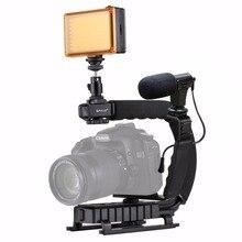 PULUZ مثبت كاميرا U Grip على شكل حرف C ، مع حامل ثلاثي القوائم ، ومحول مشبك الهاتف لمثبت DSLR