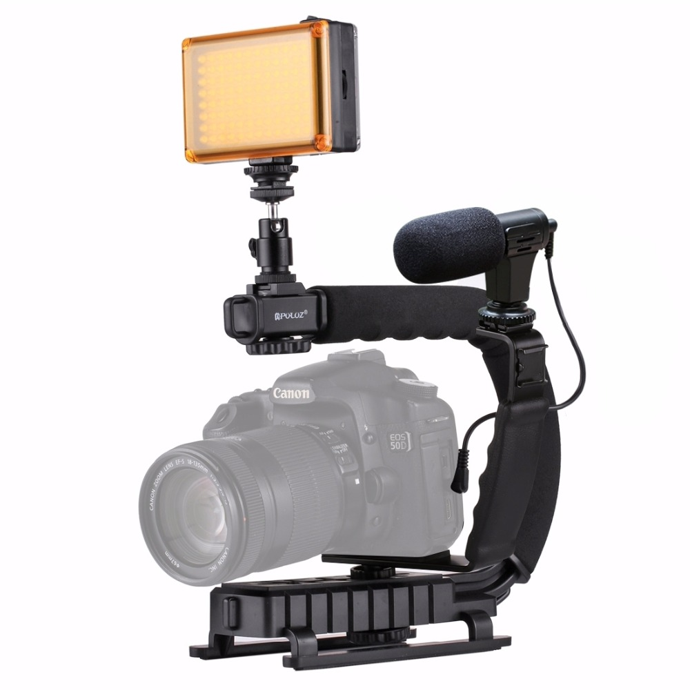 PULUZ para steadycam U-agarre en forma de C empuñadura estabilizador de cámara w/h cabeza de trípode teléfono adaptador de pinza para Steadicam DSLR estabilizador