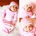 2016 розовый спальный мешок новорожденных Девочек младенческой спальный мешок с шляпа Платье Wrap милый ребенок спальный мешок конверт для новорожденных хлопок